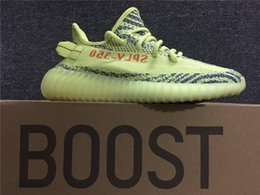 Wholesale Tennis Shoe Boots Wholesalers - Originals 350 Boost V2 Kanye West Running Shoes Zebra Zebras Semi Frozen F15 Raw Steel S18 Red Blue Tint Sneakers size 13