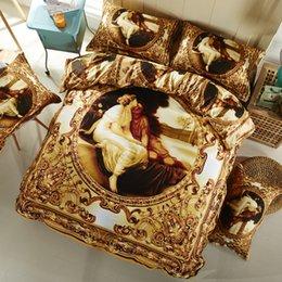 Wholesale Western Queen Bedding - Svetanya western oil painting Bedlinen golden bedclothes 3D bedding set queen Full size Duvet cover sets 100% Cotton
