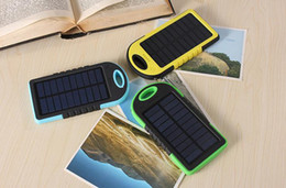 Wholesale Solar Universal Charger Mp3 - HOT Universal 5000mAh Solar Charger Waterproof Solar Panel Battery Chargers for Smart Phone PAD Tablets Camera Mobile Power Bank Dual USB