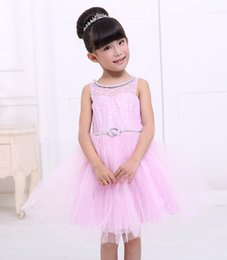 Wholesale Lovely Baby Model - 2017 New Summer Children Weeding Dresses Baby Formal Party Clothing Girls Lovely Solid Big Bow Sleeveless Ball Gown Princess Dress