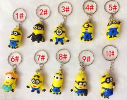 Wholesale Hot Women Movie Characters - 2015 Hot Sale 3D Despicable Me Minion Action Figure Keychain Keyring Key Ring Cute Mix order 10 styles DHL free Ship 500PCS
