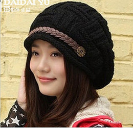 Wholesale Knitted Hat Buckle - Wholesale-M0079 fashion leather buckle edge tide female in the fall and winter warm earmuffs thickening knitting wool hat wholesale