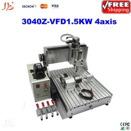 Wholesale Vfd Free Shipping - FREE SHIP!4 axis metal cnc milling machine 3040Z-VFD1.5KW wood PCB engraving machine with 1.5KW VFD+linear bearings