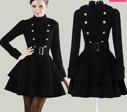 Wholesale Woollen Dresses - European woollen double breasted coat dress black ball gown mini dress stand collar high waist long sleeve dress