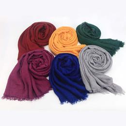Wholesale plain white gold ring - Fast Shipping, Mix Order, 56 Colors Women Maxi Hijabs Shawls 95*180CM Islamic Headband Wraps Soft Long Muslim Cotton Linen Hijab Scarfs