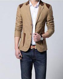 Wholesale Korean Fashion Blazer Men - Mens Korean slim fit fashion cotton blazer Suit Jacket black blue beige plus size M to 6XL Male blazers Mens coat Wedding dress