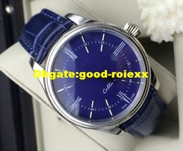 Wholesale Vintage Black Watch - Brand New Men's Automatic Watch Men Blue Dial Vintage Classic Cellini 50509 Crystal Leather Watches Folding Buckle 39mm Wristwatches