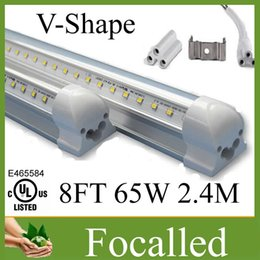 Wholesale T8 Lights Discounted - 15% discount V-shape led tube light T8 65w 8ft 2.4m double sides integrated led tube light 384leds AC90-260V Warm Cold White UL CE CSA