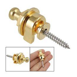 Wholesale Guitar Strap Lock Gold - Wholesale- Screw Type Guitar Parts Security Strap Lock Gold Tone