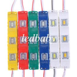 Линза smd led онлайн-Модуль 3 Led с квадратным объективом Водонепроницаемый 5630 SMD Новые светодиодные модули 1,2 Вт DC12V Красный / Зеленый / Синий / Желтый / Белый / Теплый белый