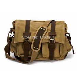 Wholesale Leather Military Satchel - Wholesale-Mens Vintage Canvas Leather Satchel Army Military Messenger Shoulder Bag Khaki