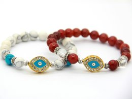 Wholesale Turkish Eye Bracelet Gold - Wholesale New Arrival Best Quality Red Agate White Turquoise Stone Crystal Gold Turkish Evil And Eye Bracelet