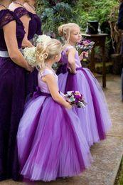 Wholesale Spaghetti Open Back Wedding Dress - Queenwedding 2015 Ball Gown Purple Flower Girl Dresses Gowns Tulle Akle-length Flower Girl Dress Sashes Open Back Custom Made SX253