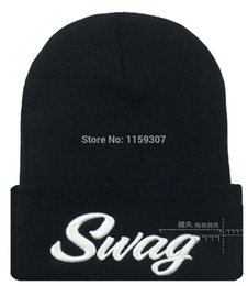Wholesale 3d Swag Hat - Wholesale-Swag Beanie 3D embroidery Skullies Street Hip-hop Winter Hats Swag Beanies 5color