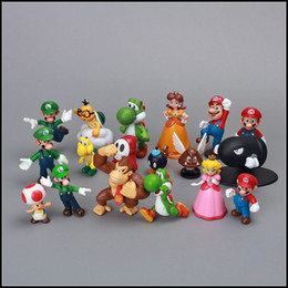 Wholesale Luigi Peach Figures - Prettybaby Super Mario Bros 18 pcs lot PVC Action Figure topper Super Mario NDS Luigi Peach yoshi figures Pt0064#