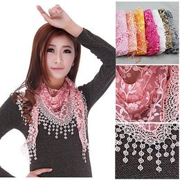Wholesale Lace Hijab Scarves - Wholesale-2015 Polyester Women Hijab Bandana Lencos De Pescoco New Women's Soft Lace Triangle Wrap Shawl Chiffon Scarf Long Voile