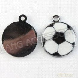 Wholesale Football Charms Metal Pendants - Free Shipping Sports Football Charms Metal Pendants 45pcs lot Enamel White&Black Alloy Fit Jewelry Making 23*18.5*2.5mm 142616