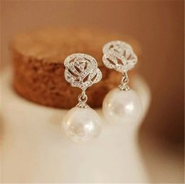 Wholesale Temperament Fashion Shop - South Korea Shopping Fashion Zircon Rose pearl earrings earrings long section female Korean temperament earrings earring