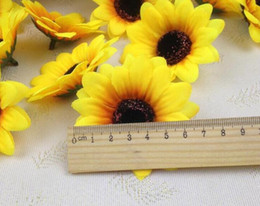 Wholesale Sunflower Display - 1000pcs lot 2.8'' Artificial Flowers Silk sunflower heads Flower Simulation flowers Decorative for Party wedding Home Wholesale