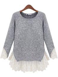 Suéteres de encaje dobladillo online-Venta al por mayor-más nuevo otoño prendas de punto de moda mujeres con estilo venta caliente ropa casual gris cuello redondo manga larga contraste dobladillo de encaje dobladillo suéter