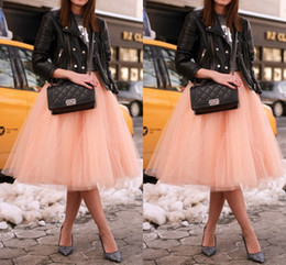 Wholesale Beige Chic Fashion - Puffy Tulle Tutu Skirts for Women Knee Length Orange Ruffled Skirt Cheap 5 Layers with Lining Midi Skirt Chic Tulle Skirts