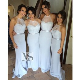 Wholesale Girls Hot Pink Bridesmaid Dresses - Cheap 2017 Hot Sale Long Bridesmaid Dresses Halter Backless Slim Evening Gowns Sheath Sheer Neck Prom Dress Fall Girls' Party Gowns