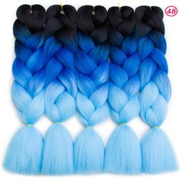 extensiones de cabello de dos tonos mixtos Rebajas Ombre Two Tones Mix Colors Extensiones sintéticas de cabello trenzado Jumbo 24inch Kanekalon Trenzado Hair Crochet Trenzas Hair Bulk Precio al por mayor