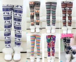 Wholesale Thick Cashmere Tights - 11 Styles kids footless leggings new Christmas Design Print thick with cashmere milk silk girl leggings winter kids leggings size 100-150cm