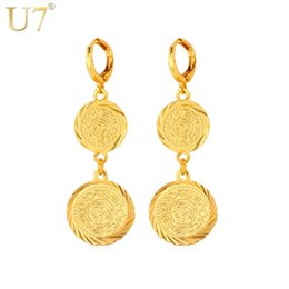 Wholesale Platinum Gold Coins - 2015 Hot New 18k Gold Platinum Plated Women British Queen Coin Design Drop Earrings Free Shipping With Gift Box Dangling Earrings 7-E882K