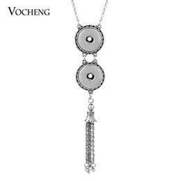 Wholesale Tassel Pendant Plated Silver - NOOSA Ginger Snap Jewelry Tassel Necklace 18mm Metal Button Pendant Sweater Chain NN-315