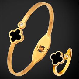 Wholesale Golden Ring Women - U7 Romantic Stainless Steel Jewelry Set For Women 18K Real Gold Rose Gold Plated Fashion Jewelry Clover Ring Bracelet Set
