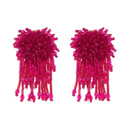 Wholesale Imported Roses - Wholesale Cheap Earring for Women Import Rose Crystal Beads Tassel Earring Fashion Alloy Earring 2017 for Gift