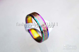 Wholesale Mixed Patterns - Stainless steel Rings Rainbow Colors Band 50pcs Mixed Pattern Cute Women ring #R170 Jewelry New
