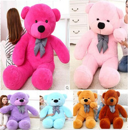 Wholesale Huge Light - TEDDY BEAR PLUSH HUGE SOFT TOY 80CM 31.5INCH Plush Toys Valentine's Day gift 8 color light brown brown cream colored pink red blue purple wh