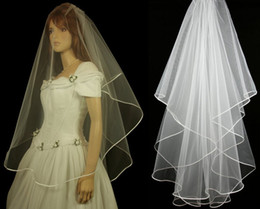 Wholesale Wedding Dresses For Sale Wholesale - Cheap 2015 Real Image Stock 1 Layer White Ivory Wedding Satin Edge Comb Veils For Wedding Dresses Gowns Bridal Accessories Hot Sale