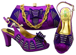Wholesale Purple High Heels For Wedding - Wonderful purple lady pumps african shoes match handbag set with rhinestones for dress MM1051,heel 8.5CM