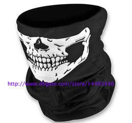Wholesale Scarves Skulls - DHL Free shipping 100pcs Skull Design Multi Function Bandana Ski Sport Motorcycle Biker Scarf Face Masks Outdoor Facial Mask Black Color