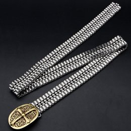 Wholesale Metal Waist Chain - Chrome copper head buckle waistband Quality 304 stainless steel chain belt New arrive men waist band