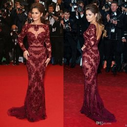 Wholesale Cheryl Cole Long Dresses - Celebrity Cheryl Cole Zuhair Murad in Cannes Red Carpet Dresses Bateau Beading See Through Long Sleeve Formal Pageant Gowns Evening Dresses