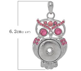 Wholesale Owl Pendant Pink - hot sale owl pendant rhodium plated pink rhinestone Pendant DIY button Noosa pendant jewelry charms snap button interchargeble snap jelwery