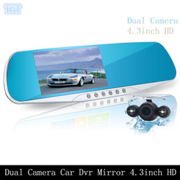 Wholesale Dvr Full Rear - Car Dvr Mirror Dual Camera with Rearview Camera 4.3 INCH FULL HD 1080P 170 Degree 3 In 1 Rearview Mirror + Front Car DVR + Rear view Camera