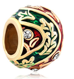 Wholesale 22k Gold Plated Jewelry - 22K gold plating Metal Jewelry hand colors Enamel LEAF Faberge Egg charm Russion Egg Beads Fits for Bracelets