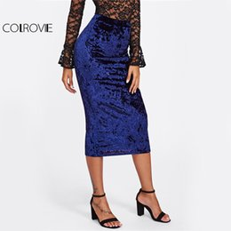 Wholesale Elegant Ladies Skirt - COLROVIE Crushed Velvet Pencil Skirt Women Blue Casual High Waist Elegant Midi Skirts 2017 Autumn OL Work Sexy Ladies New Skirt q1113