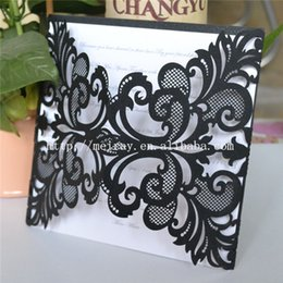Wholesale Wedding Invitations Inserts - Wholesale- fast shipping 120pcs lot black invitation cards wedding! pearl paper laser cut black wedding invitations with white insert