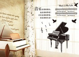 Wholesale Transparent Wall Stickers Children - Piano Children Bedroom Living Room or Glass PVC Transparent decoration wall stickers removable stickers home decor