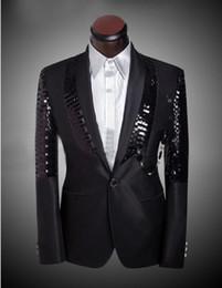 Wholesale Shiny Slim Fit Suits - New arrival men slim fit suit mens suits with Pants Black Sequin shiny Blazer Jacket wedding tuxedos men's suits