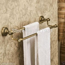 Wholesale Brass Towel Rod - Free Shipping Wholesale and Retail Double Rod Bathroom Towel Bar Wall Mounted Bath Towel Rack Antique Brass Finished 1001#01