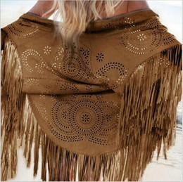 Wholesale Suede Fringe Coat - Women Coffee Faux Suede Leather Cut Out Summer Beach Cover Up Kimono Long Fringes Tassels Thin Coat Cardigan Jacket hight quality free ship