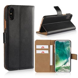 Wholesale Apple Iphone Book - Wallet Case Genuine Leather For Iphone X 10 8 PlusDurable Wallet Flip Book Cover Design with Kickstand ID Card Slot Magnetic Closure