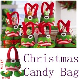 Wholesale Cloth Goody Bags - 2015 new hot Cute Christmas Candy Bag Cloth Cartoon New Year Lovely Goody Goodie Bonbon Sweetmeat Gift Bag SD-48